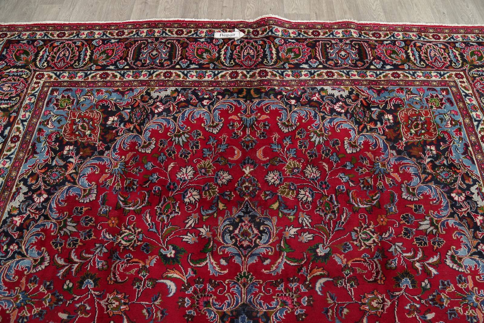 Floral Medallion Red Mashad Persian Hand-Knotted Area Rug Wool 9x12