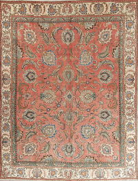 Floral Rust Tabriz Persian Hand-Knotted Area Rug Wool 9x12