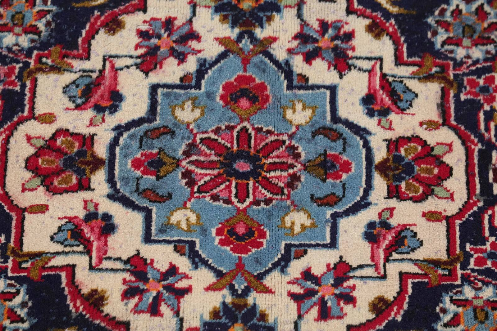 Floral Medallion Red Kashan Persian Hand-Knotted Area Rug Wool 8x11