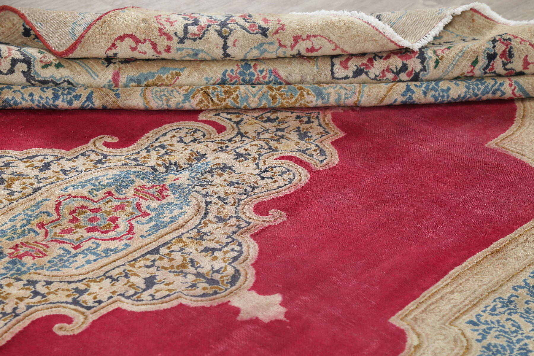 Geometric Red Kerman Persian Hand-Knotted Area Rug Wool 10x13