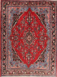 Floral Red Hamedan Persian Hand-Knotted Area Rug Wool 9x11