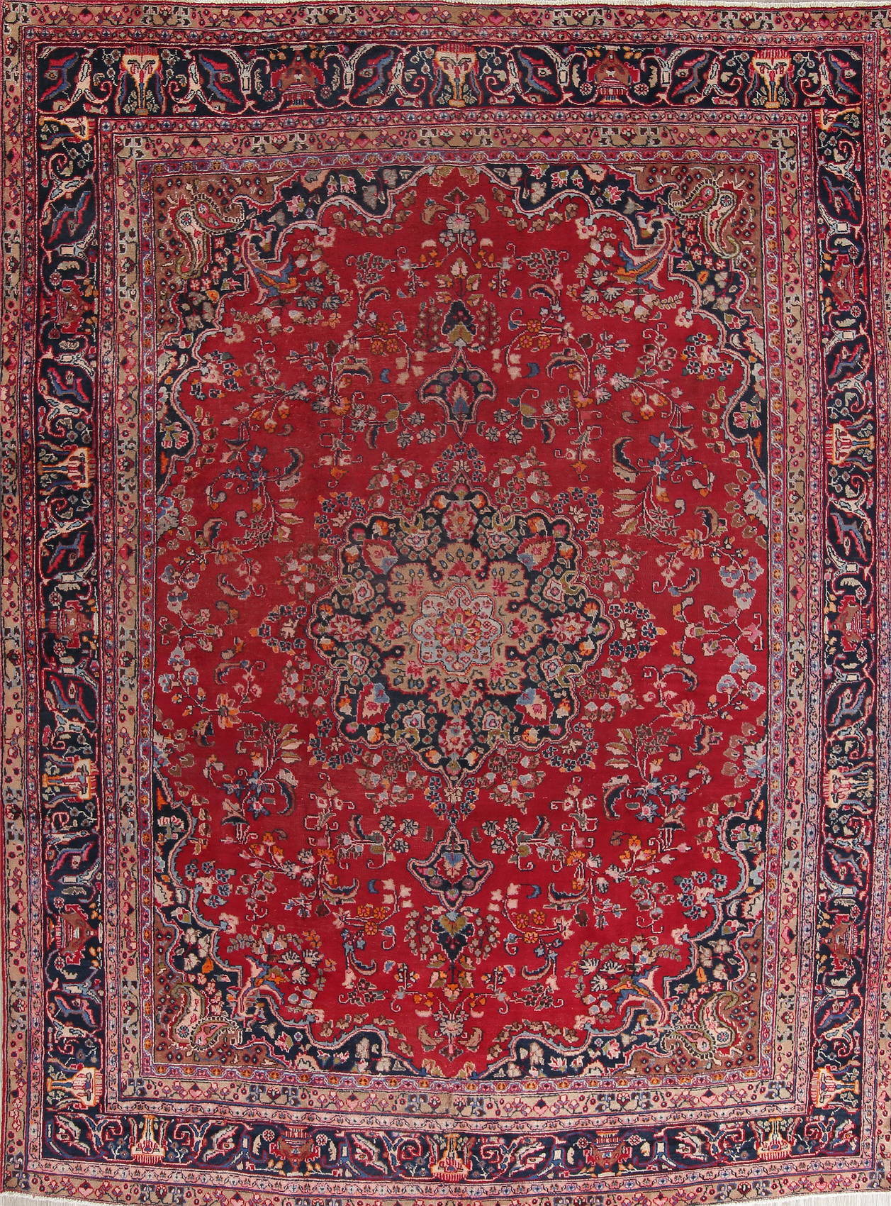 Floral Red Mashad Persian Hand-Knotted Area Rug Wool 9x12