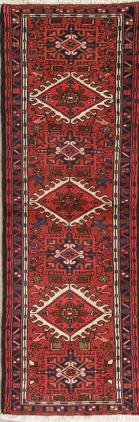 Geometric Red Gharajeh Persian Hand-Knotted Runner Rug Wool 2x7