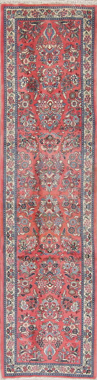 Floral Pink Sarouk Persian Hand-Made Runner Rug Wool 3x10