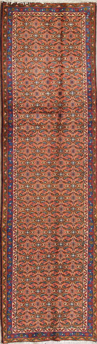 All-Over Geometric Rust Ardebil Persian Hnad-Knotted Runner Rug Wool 3x9
