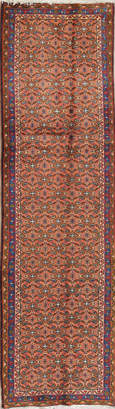 All-Over Rust Ardebil Persian Runner Rug Wool 3x9