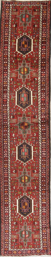Geometric Red Gharajeh Persian Hand-Knotted Runner Rug Wool 3x13