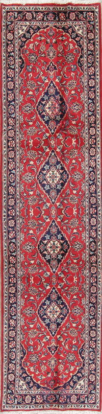 Floral Red Kashan Persian Hand-Knotted Runner Rug Wool 3x10
