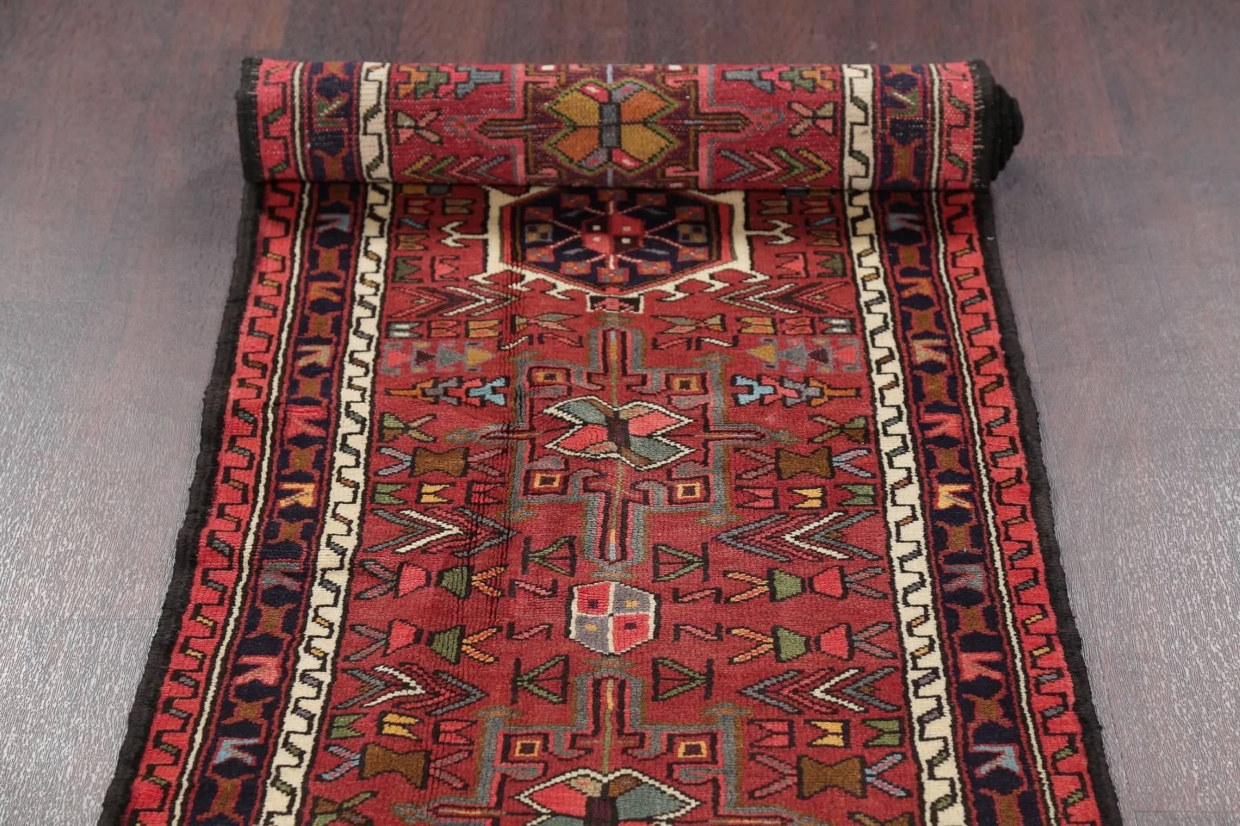 Geometric Red Gharajeh Persian Hand-Knotted Runner Rug Wool 2x13