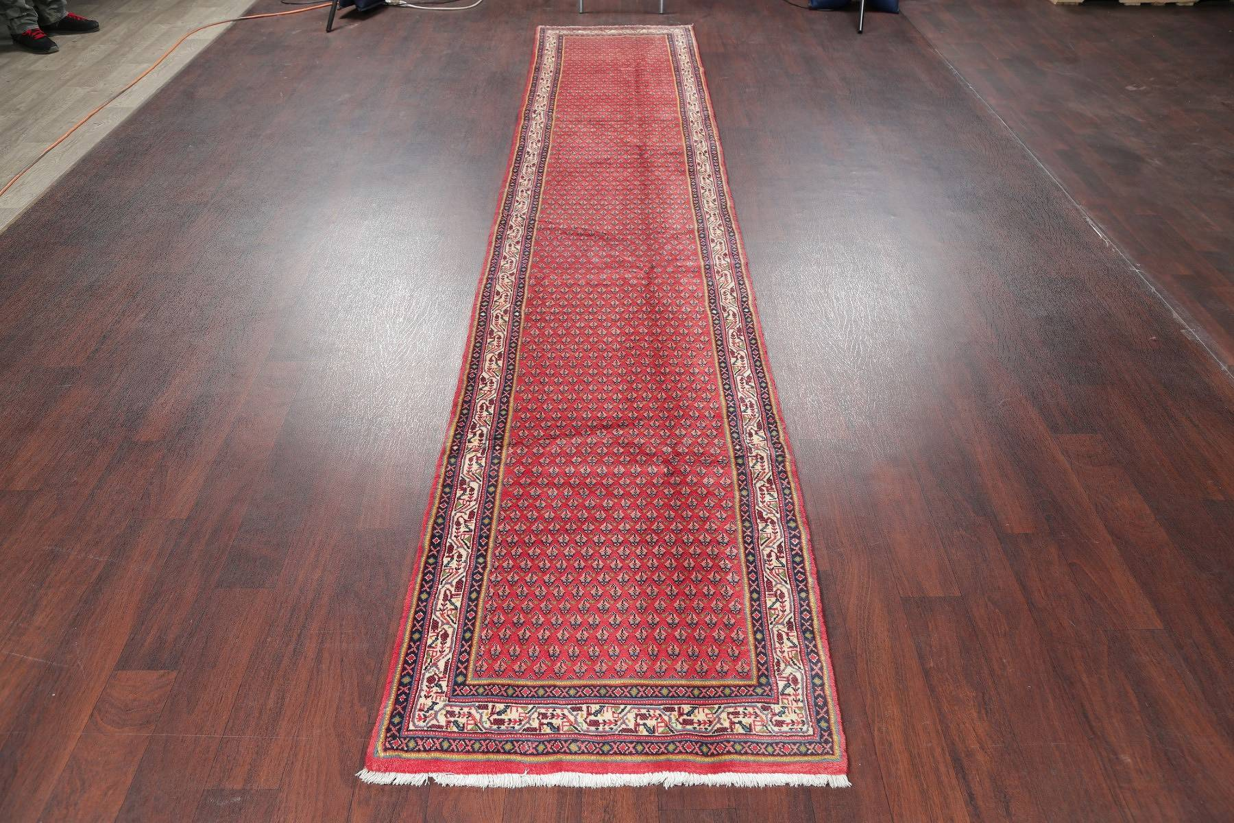 All-Over Paisley Red Botemir Persian Hand-Knotted Runner Rug Wool 3X14