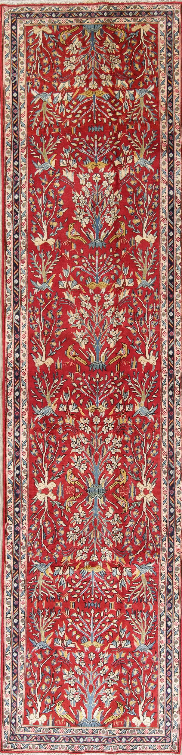 Tree Of Life Floral Sarouk Persian Red Runner Rug Wool 3x12