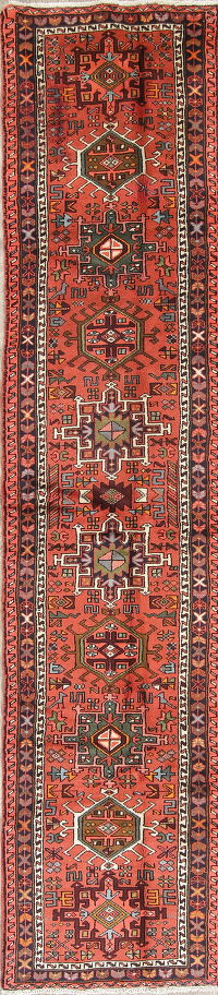 Geometric Red Tribal Gharajeh Persian Runner Rug Wool 2x13