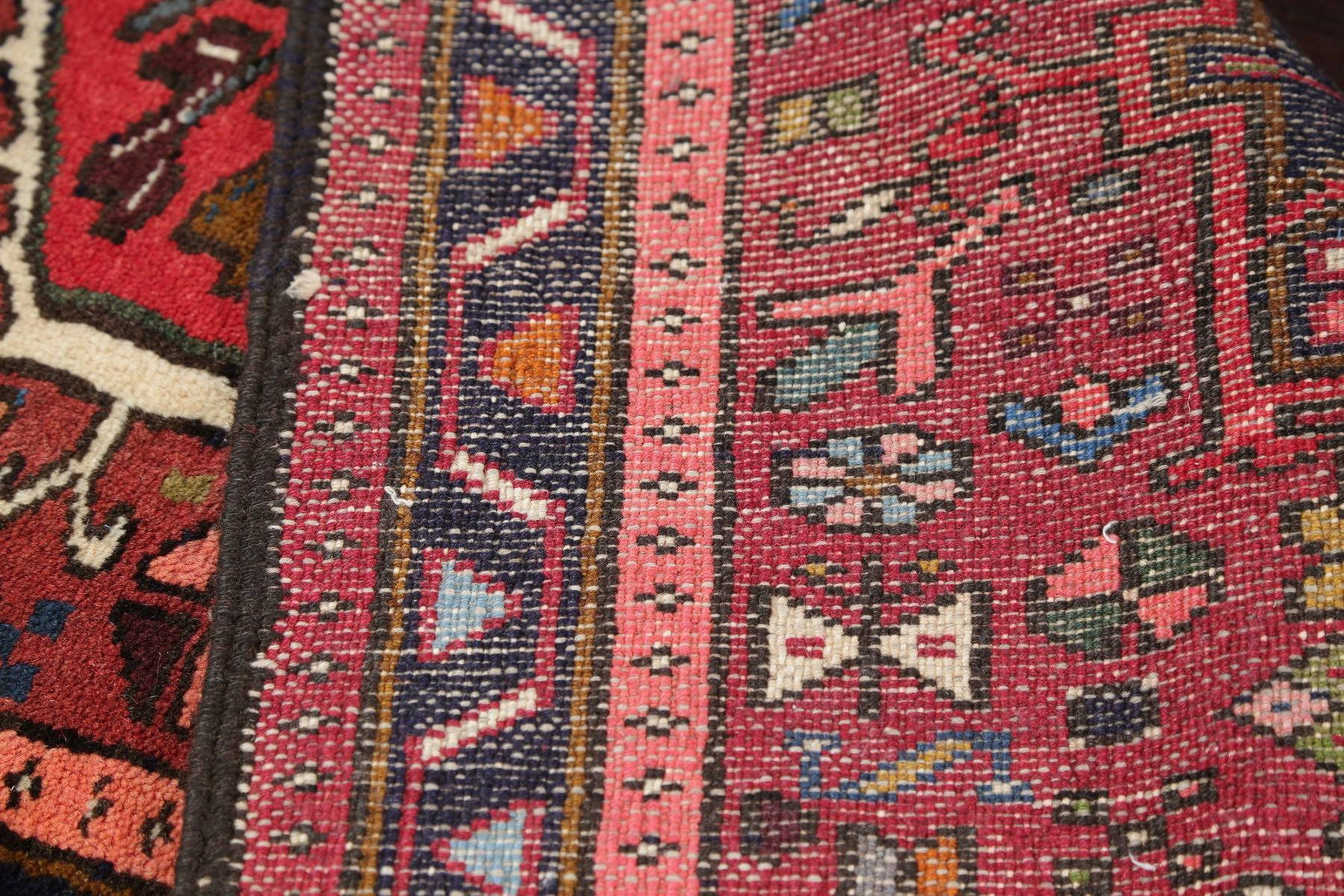 Geometric Red Tribal Gharajeh Persian Runner Rug Wool 2x7