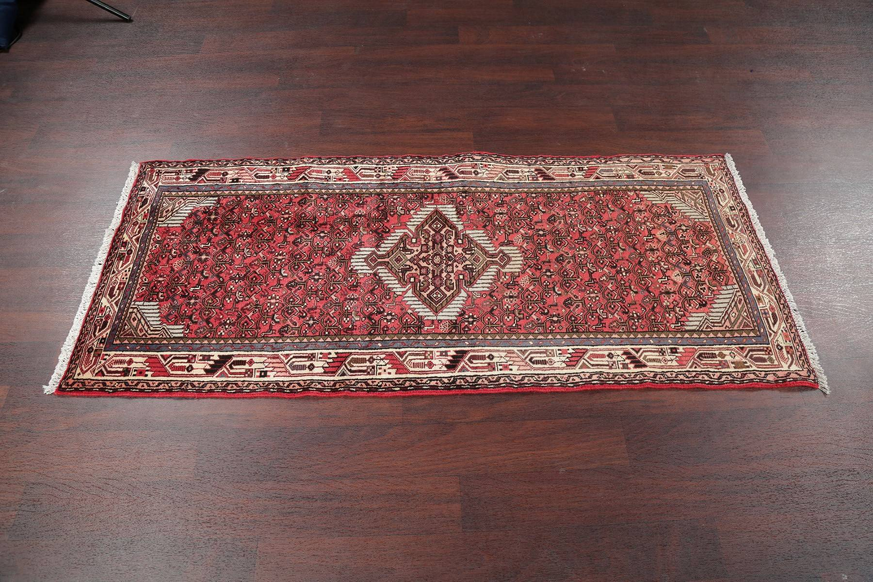 Geometric Red Hamedan Persian Hand-Knotted Runner Rug Wool 3x6