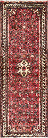 Geometric Red Hamedan Persian Hand-Knotted Runner Rug Wool 2x7