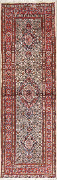 Wool/Silk Bidjar Persian Hand-Knotted Runner Rug 2x8