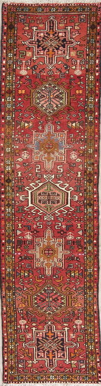 Geometric Red Tribal Gharajeh Persian Runner Rug Wool 2x8