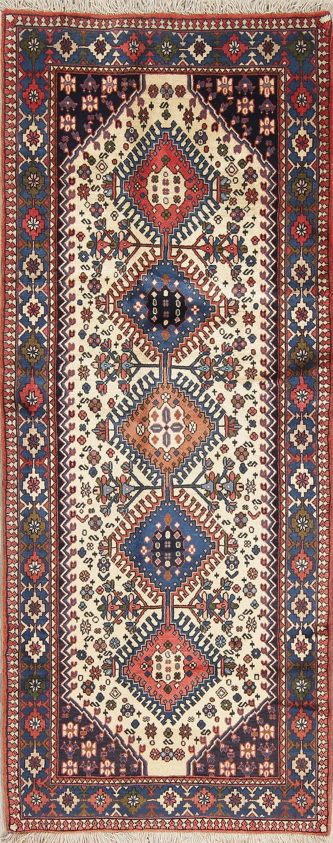 Geometric Ivory Yalameh Persian Hand-knotted Runner Rug Wool 3x7