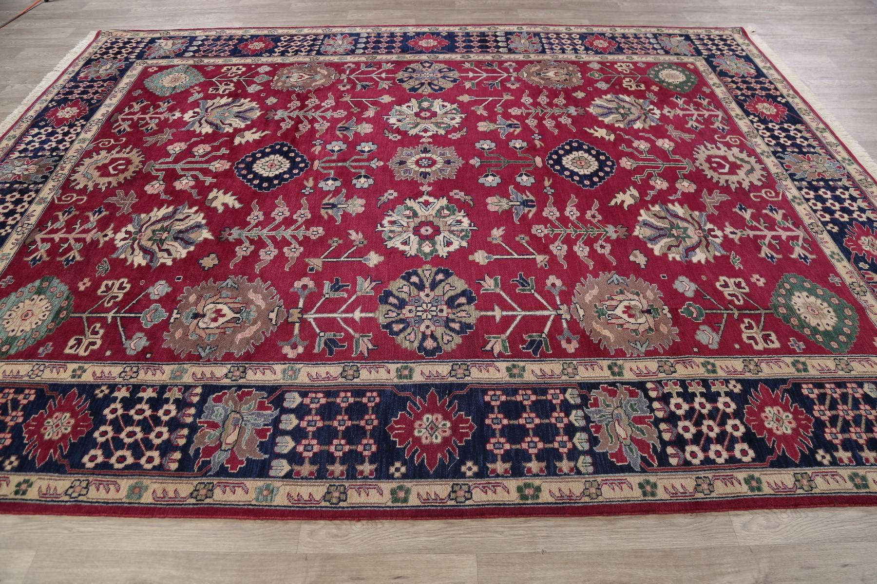 Geometric Red Oushak Indian Oriental Hand-Knotted Area Rug Wool 9x12