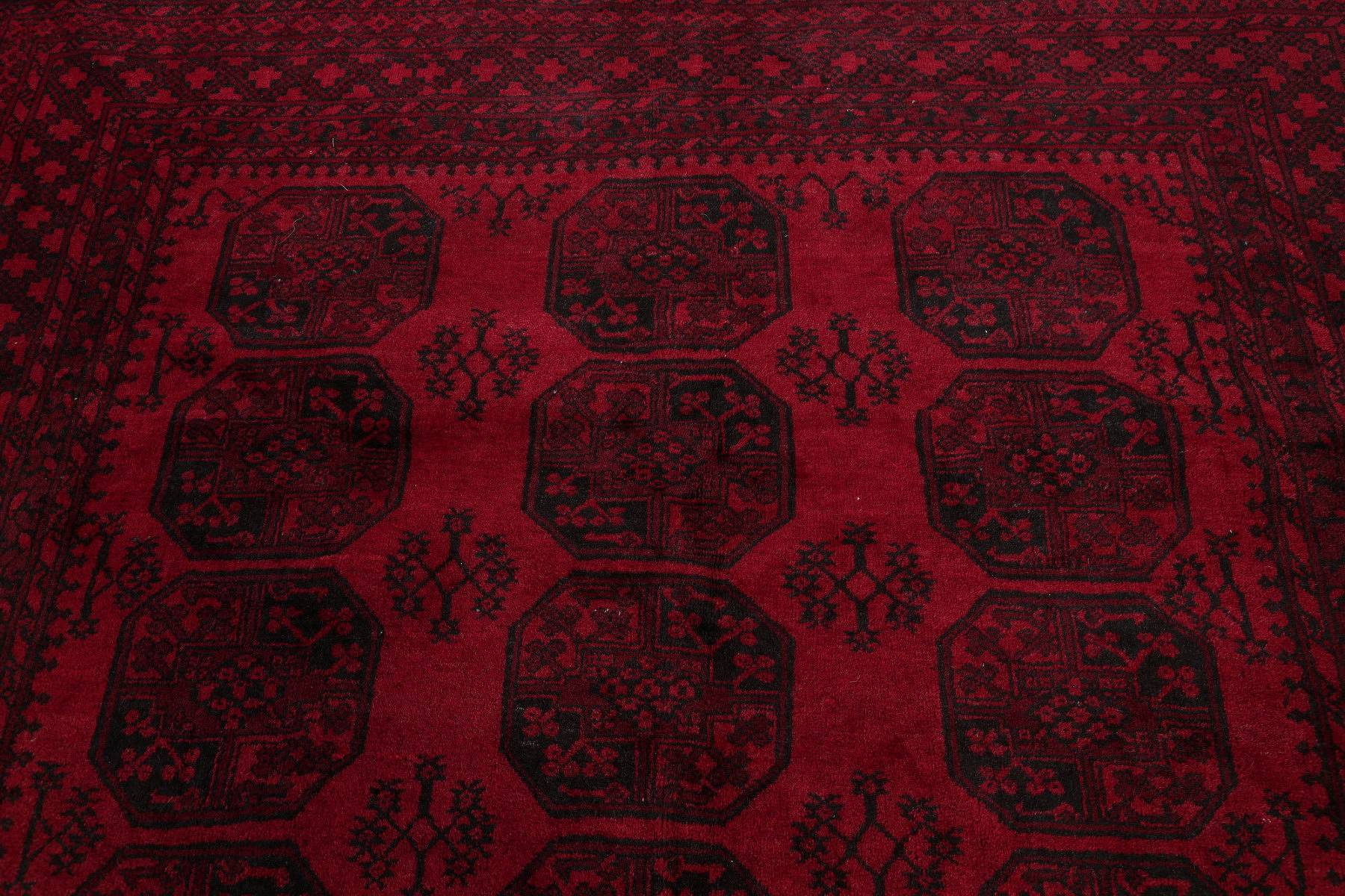Geometric Red Balouch Afghan Oriental Hand-Knotted Area Rug Wool 10x13