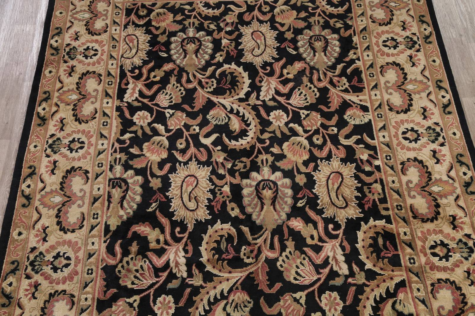 Floral Black Agra Indian Oriental Hand-Knotted Area Rug Wool 9x12