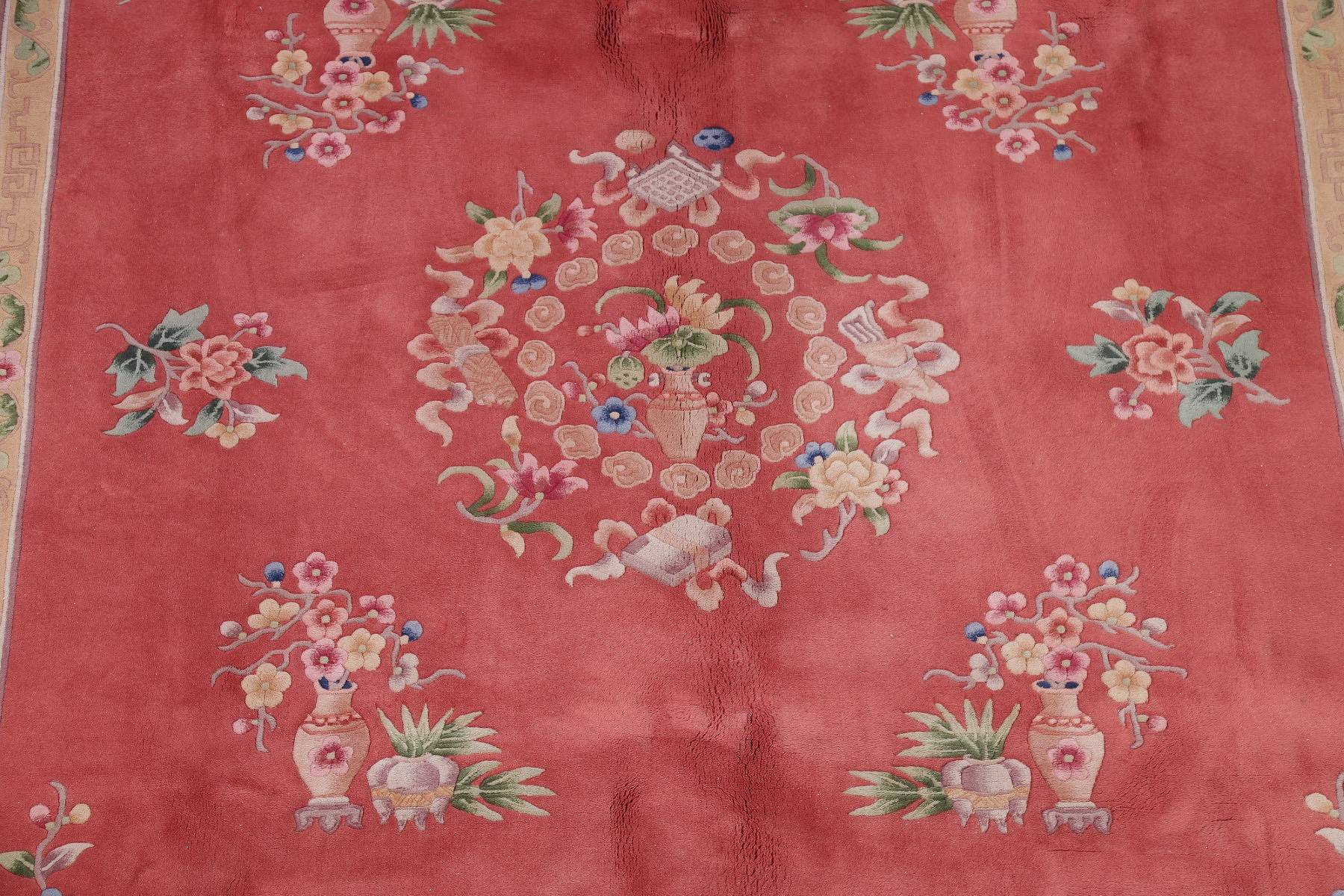 Floral Transitional Red Oushak Turkish Oriental Hand-Knotted Area Rug Wool 8x10