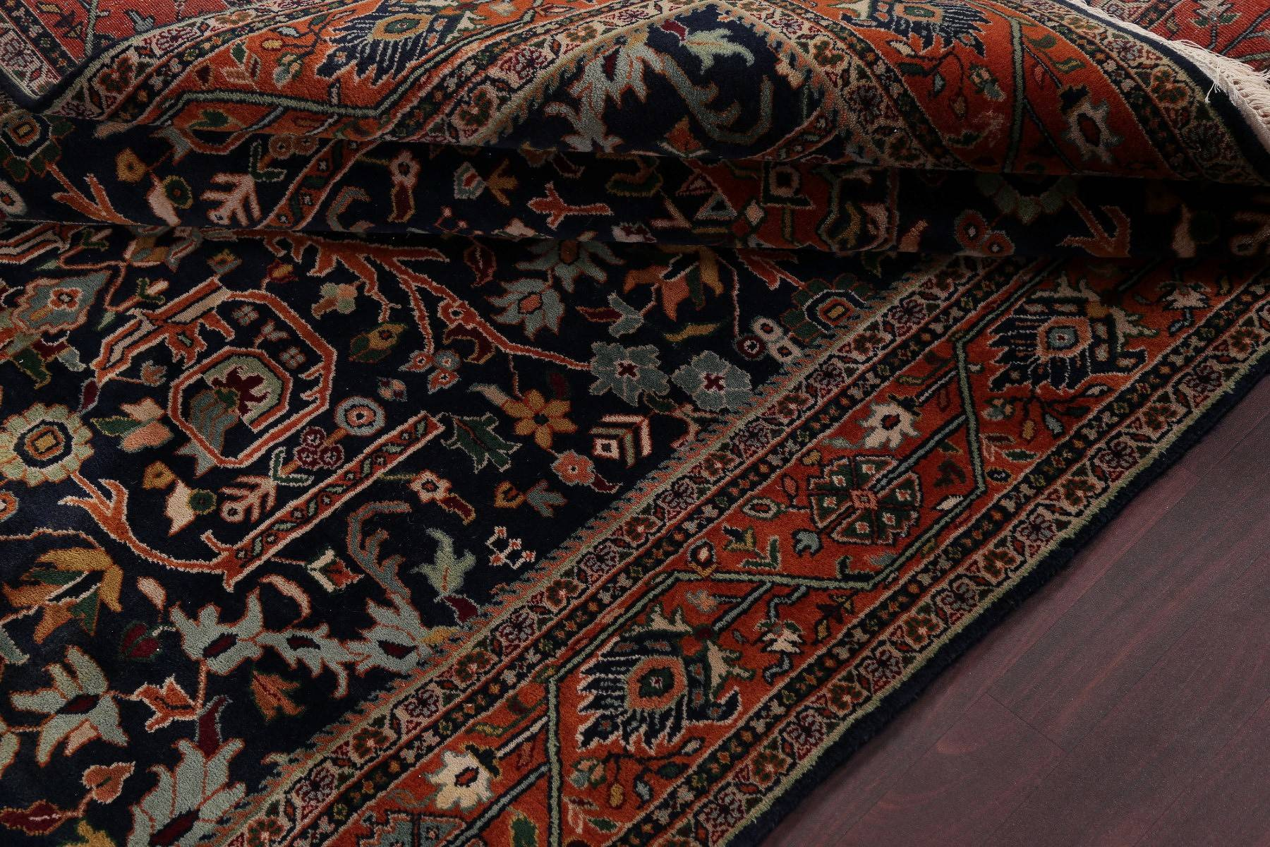 All-Over Floral Black Sarouk Indian Oriental Hand-Knotted Area Rug Wool 6x9