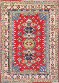 Geometric Red Kazak Oriental Hand-Knotted Area Rug Wool 7x10