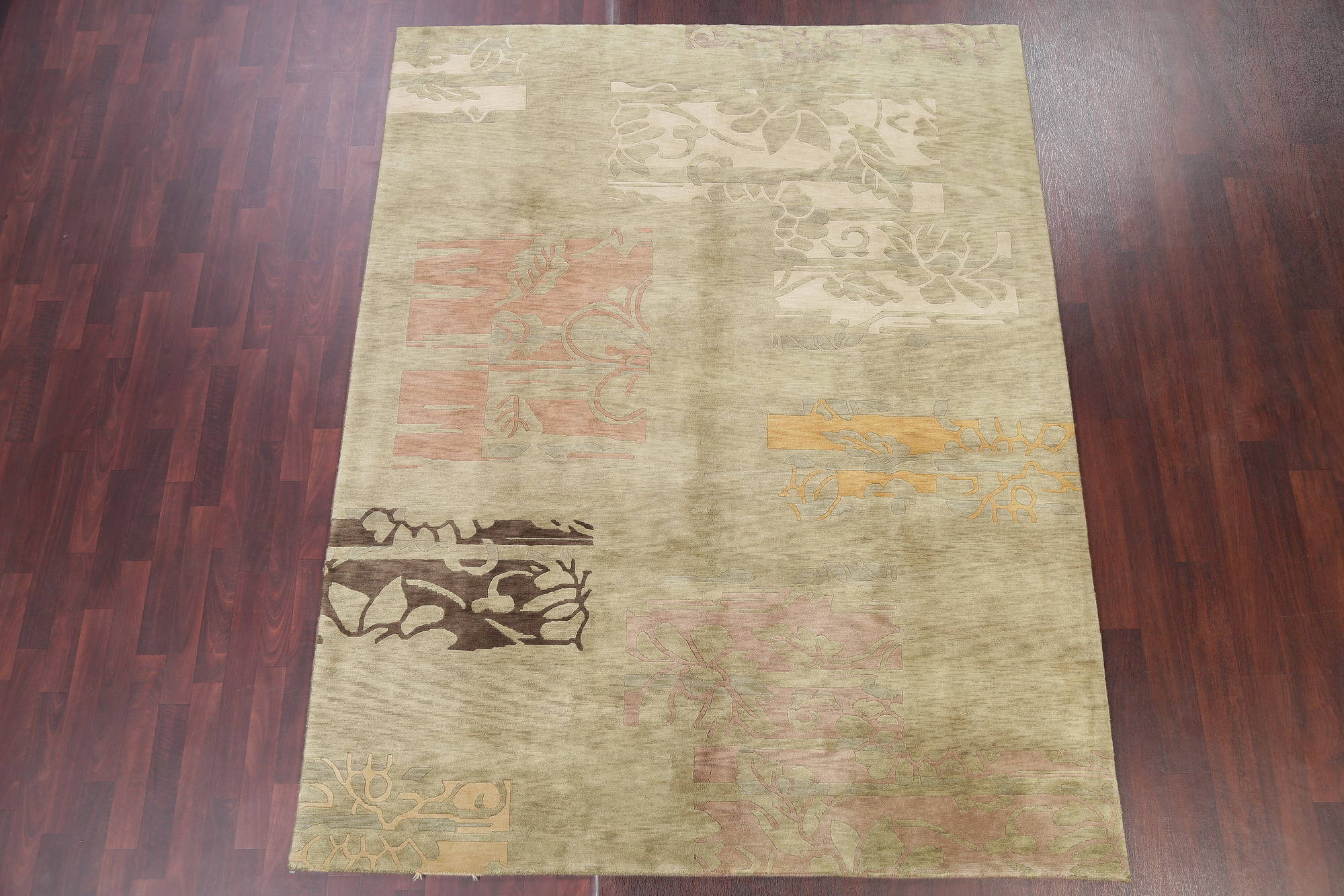 Transitional Floral Green Nepal Indian Oriental Hand-Knotted Area Rug Wool 7x9