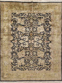 Floral Black Oushak Oriental Hand-Knotted Area Rug Wool 8x10