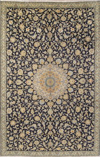 Navy Blue Floral Kashan Persian Hand-Knotted Area Rug Wool 7x11