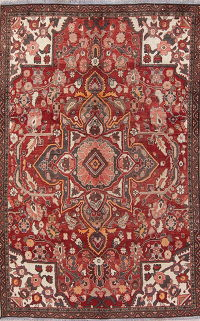 Floral Red Bakhtiari Persian Hand-Knotted Area Rug Wool 5x8