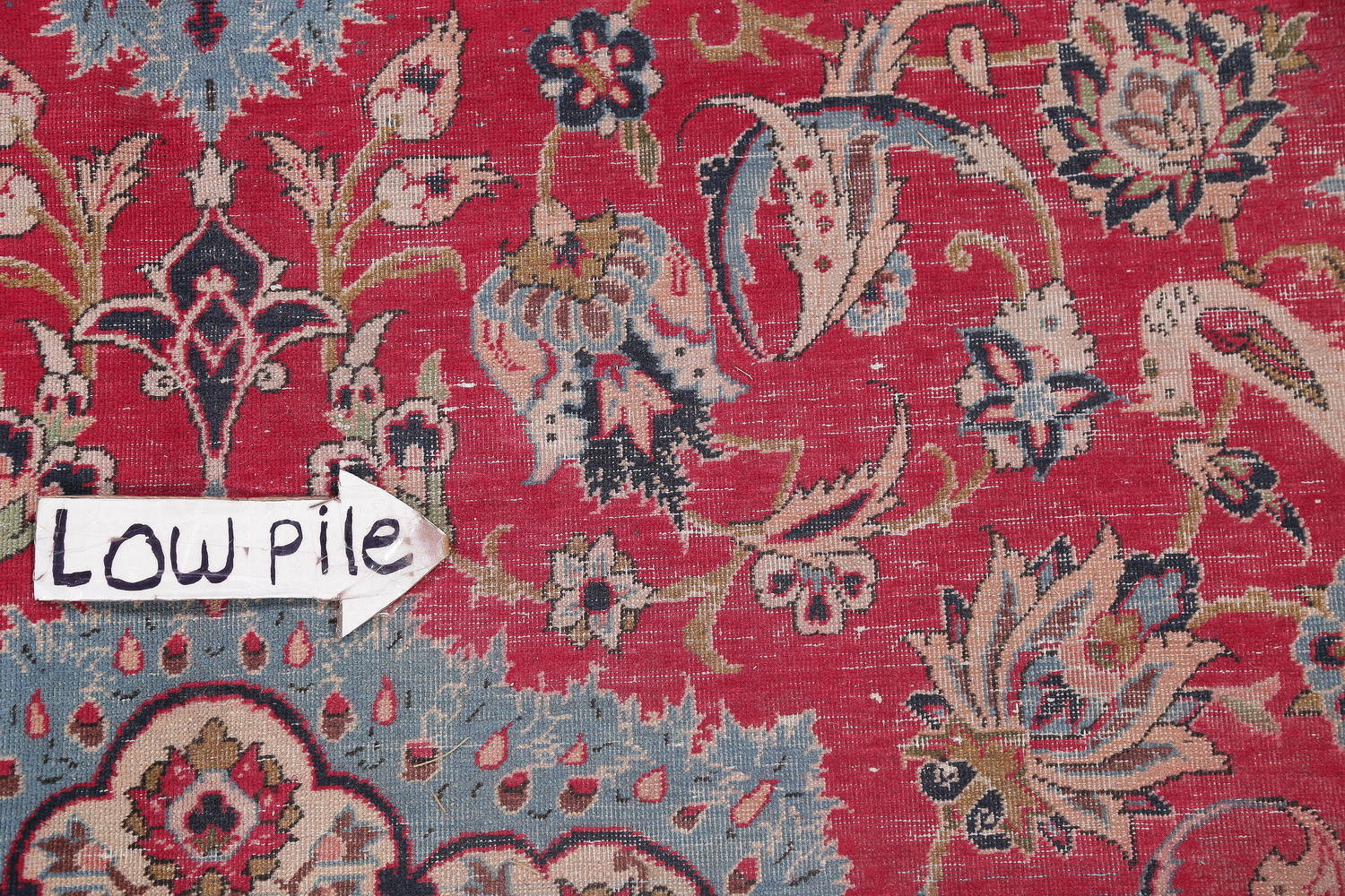 Antique Floral Red Isfahan Persian Hand-Knotted Area Rug Wool 8x11
