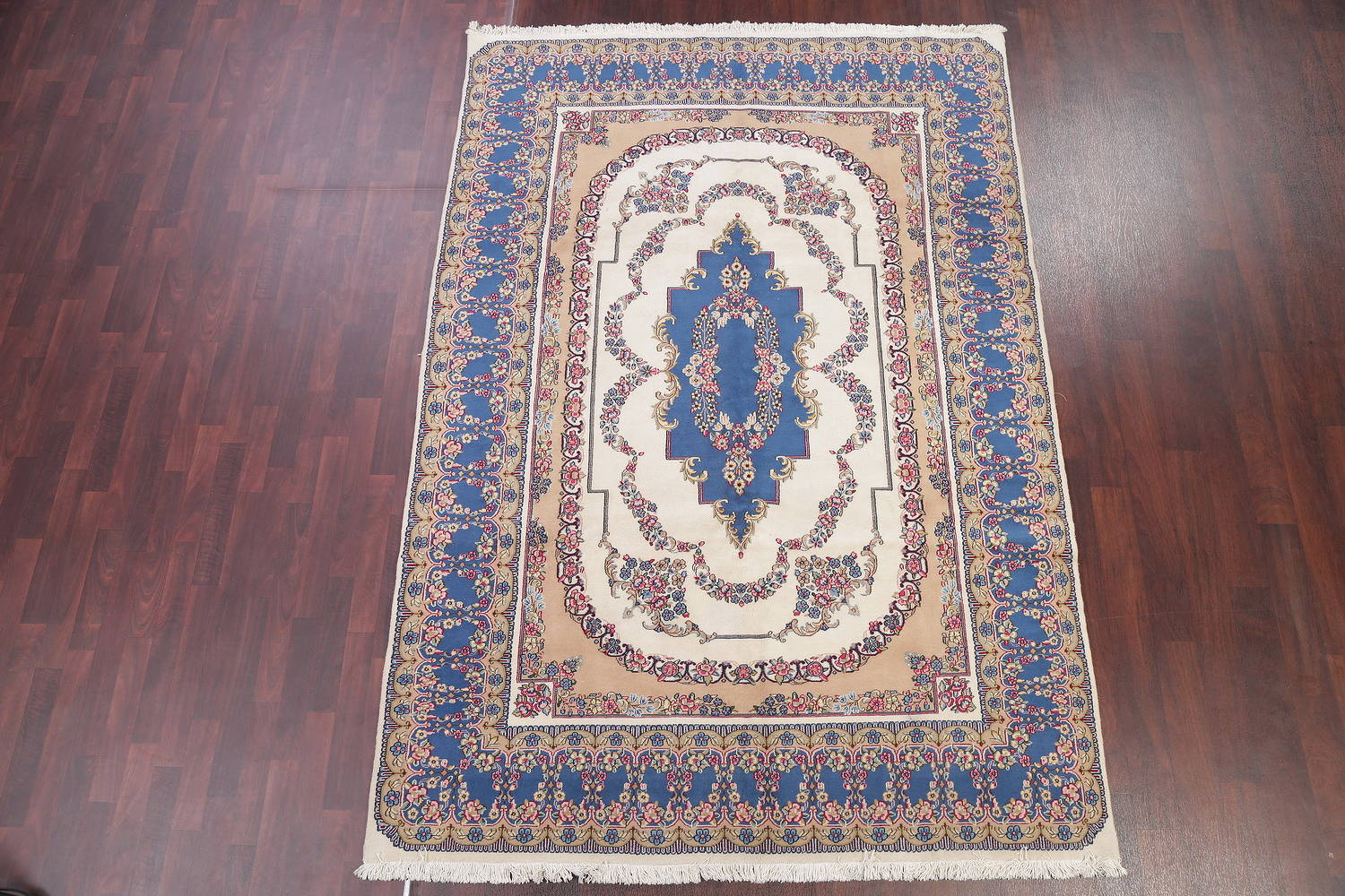 Floral Ivory Kerman Persian Hand-Knotted Area Rug Wool 7x10