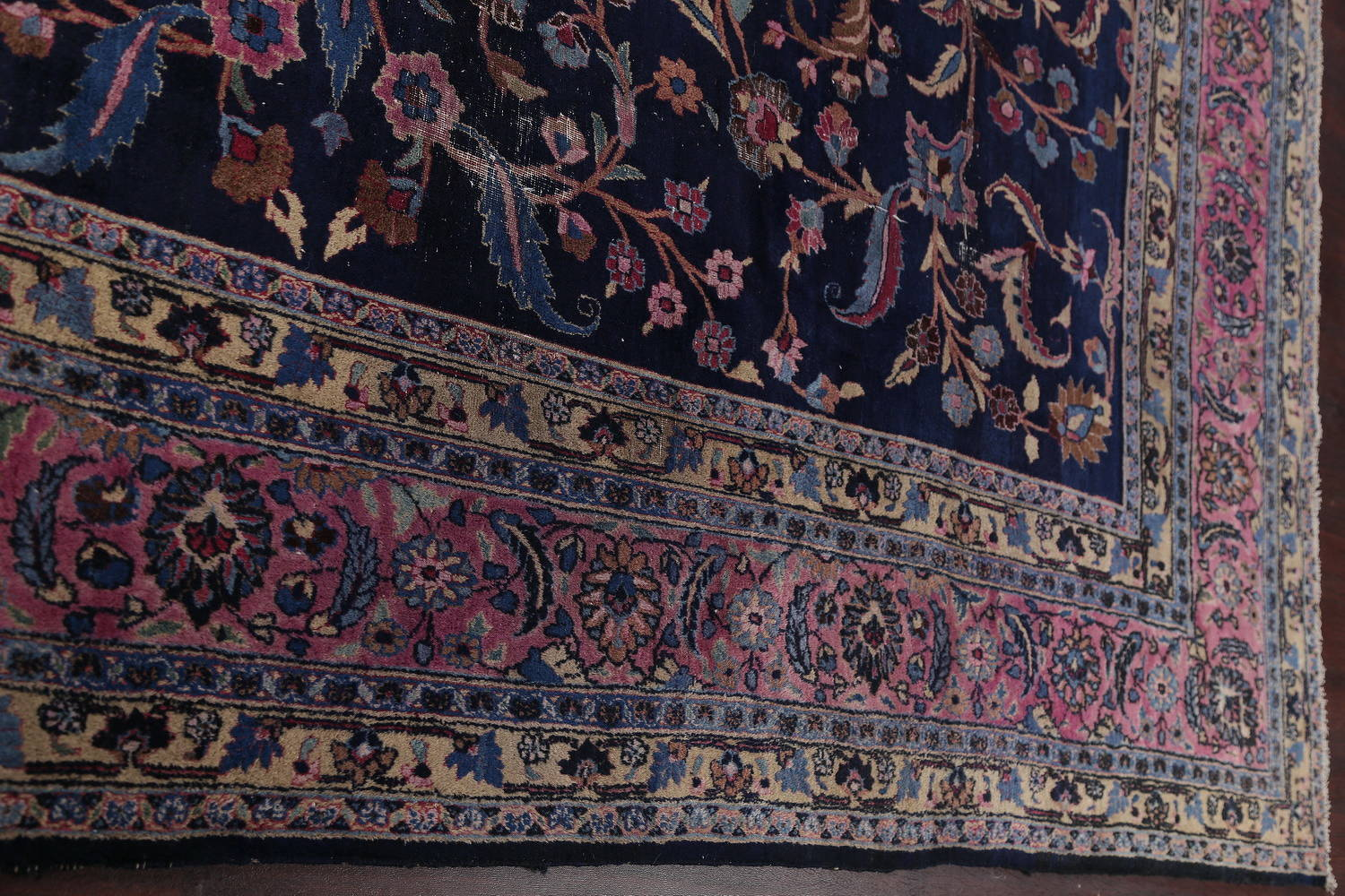 Antique Floral Navy Blue Sarouk Persian Hand-Knotted Area Rug Wool 10x13