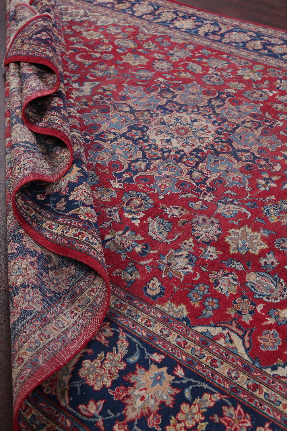 Floral Red Najafabad Isfahan Persian Hand-Knotted Area Rug Wool 11x16