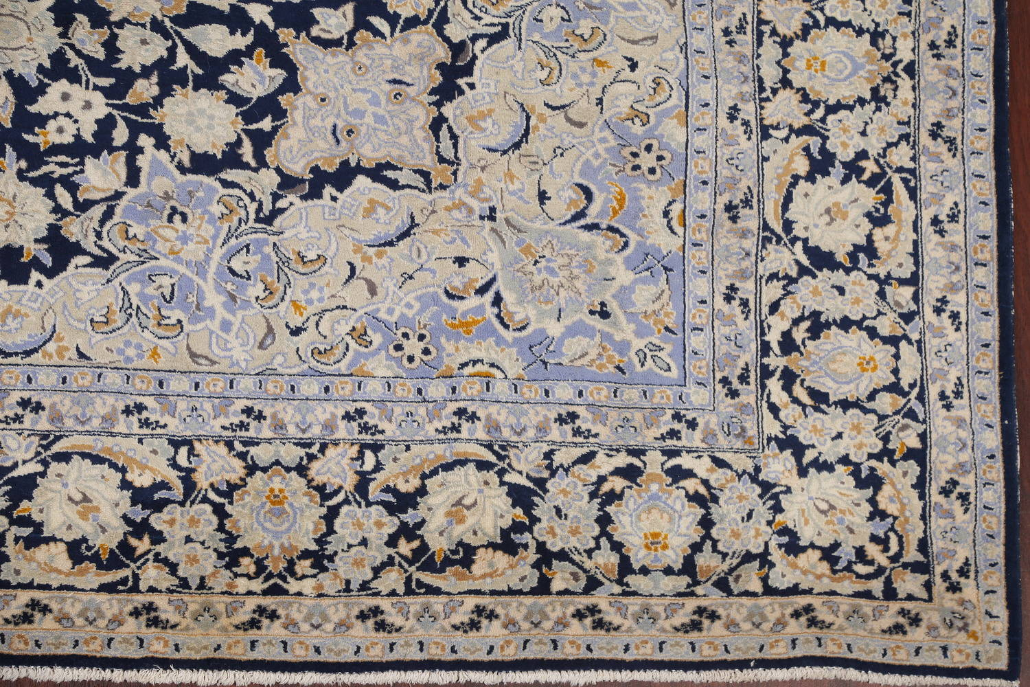 Floral Navy Blue Kashan Persian Hand-Knotted Area Rug Wool 10x13