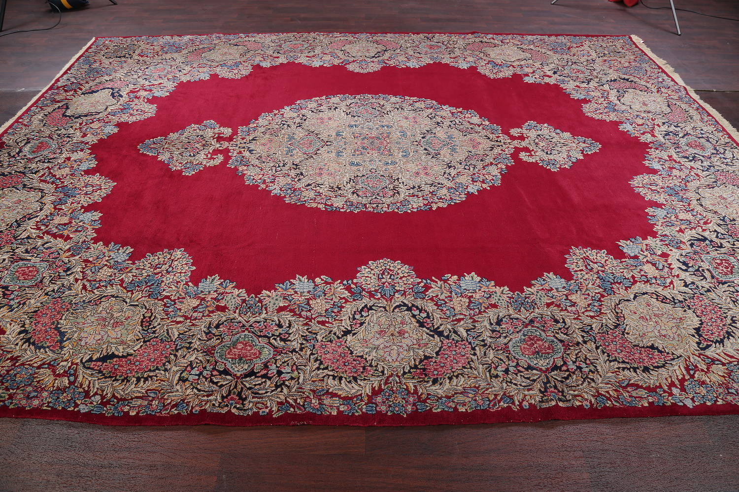 Floral Red Kerman Persian Hand-Knotted Area Rug Wool 10x13
