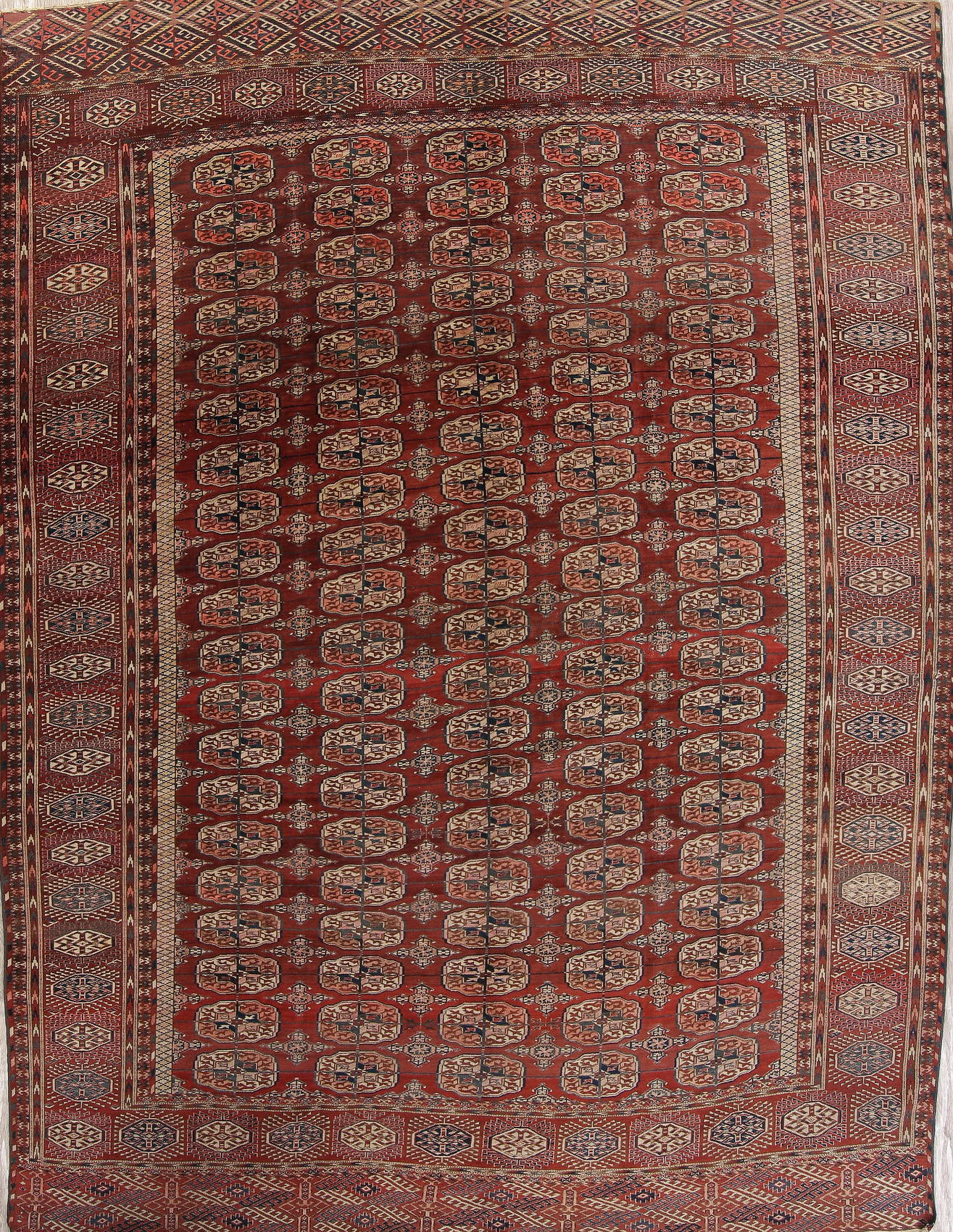 Antique Geometric Red Balouch Oriental Hand-Knotted Area Rug Wool 9x12