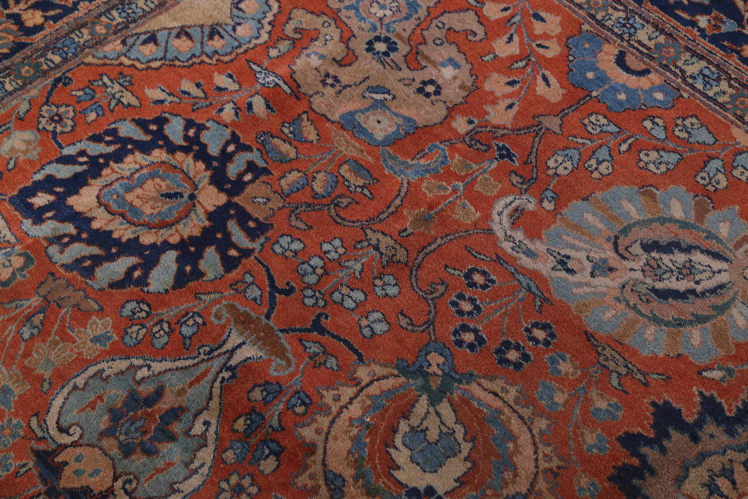 Antique Floral Orange Tabriz Persian Hand-Knotted Area Rug Wool 10x13