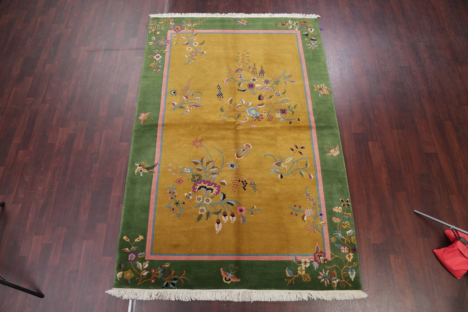 Floral Gold Art Deco Chinese Oriental Hand-Knotted Area Rug 6x9