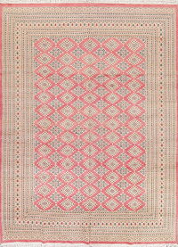 Geometric Pink Bokhara Pakistan Oriental Hand-Knotted Area Rug Wool 10x14