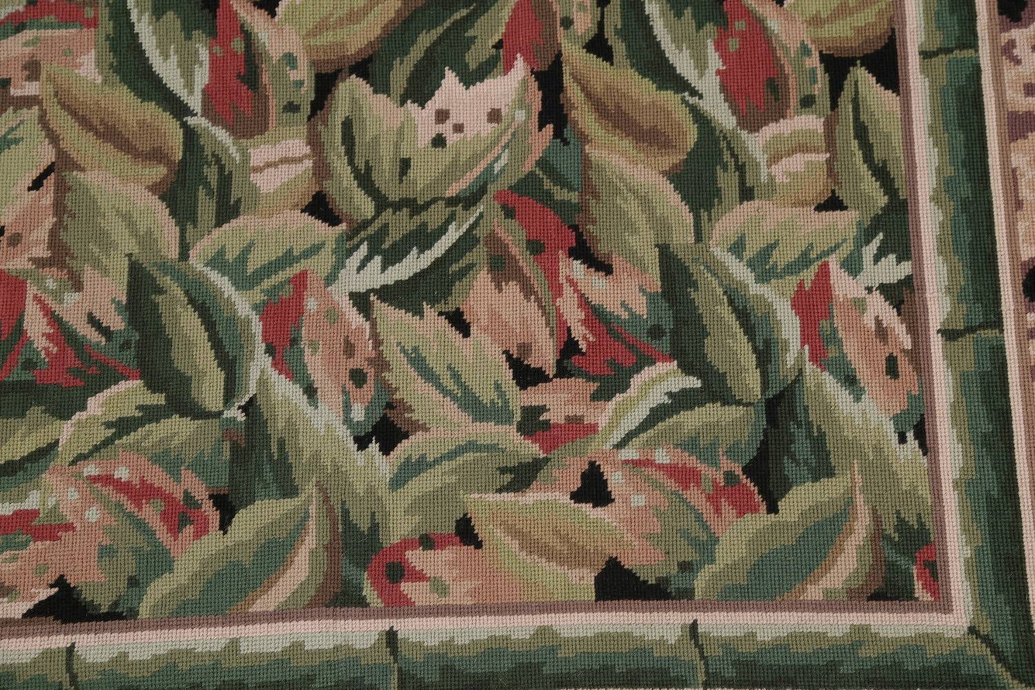 Transitional Floral Aubusson Needlepoint Chinese Oriental Area Rug Wool 9x12
