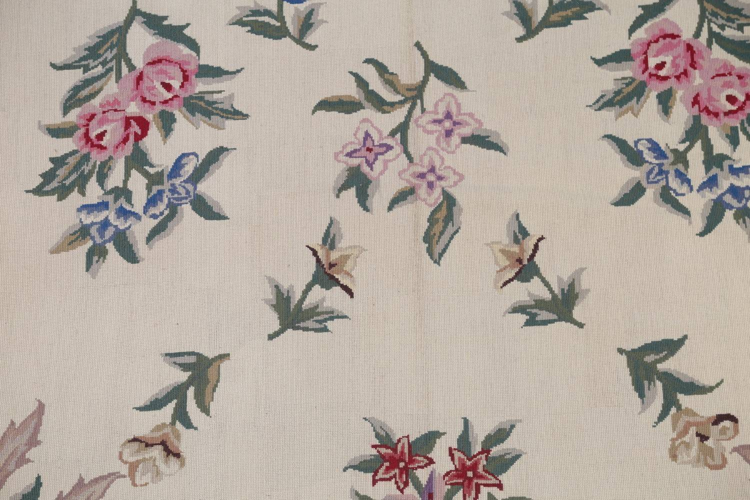 Floral Ivory Aubusson Chinese Oriental Hand-Woven Area Rug  8x11