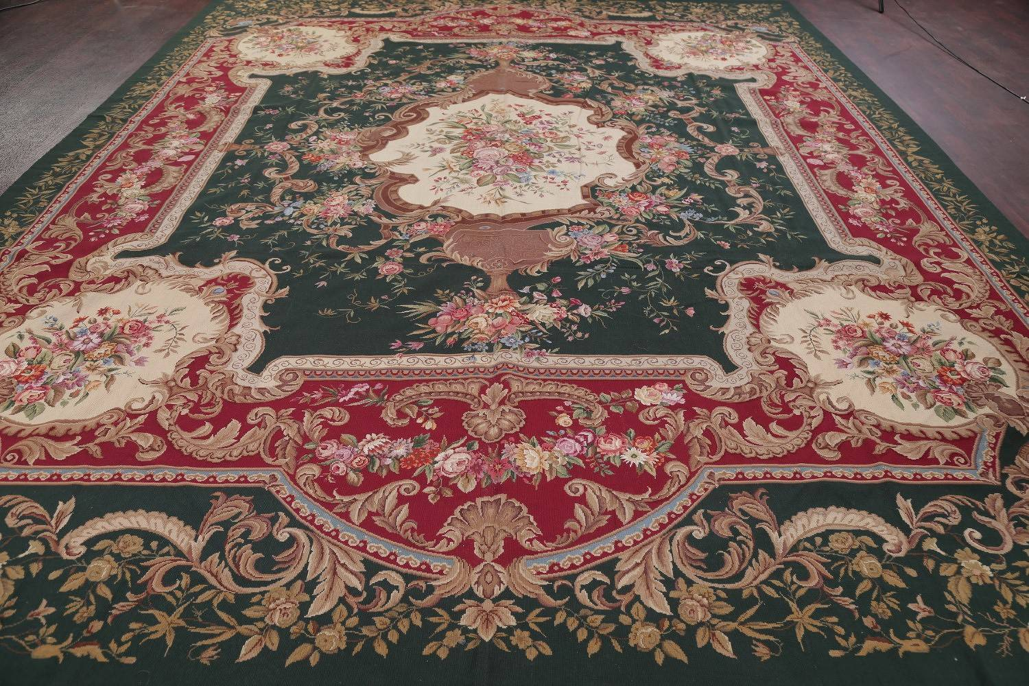 Floral Green Savonnerie Aubusson Chinese Oriental Area Rug Wool 12x15