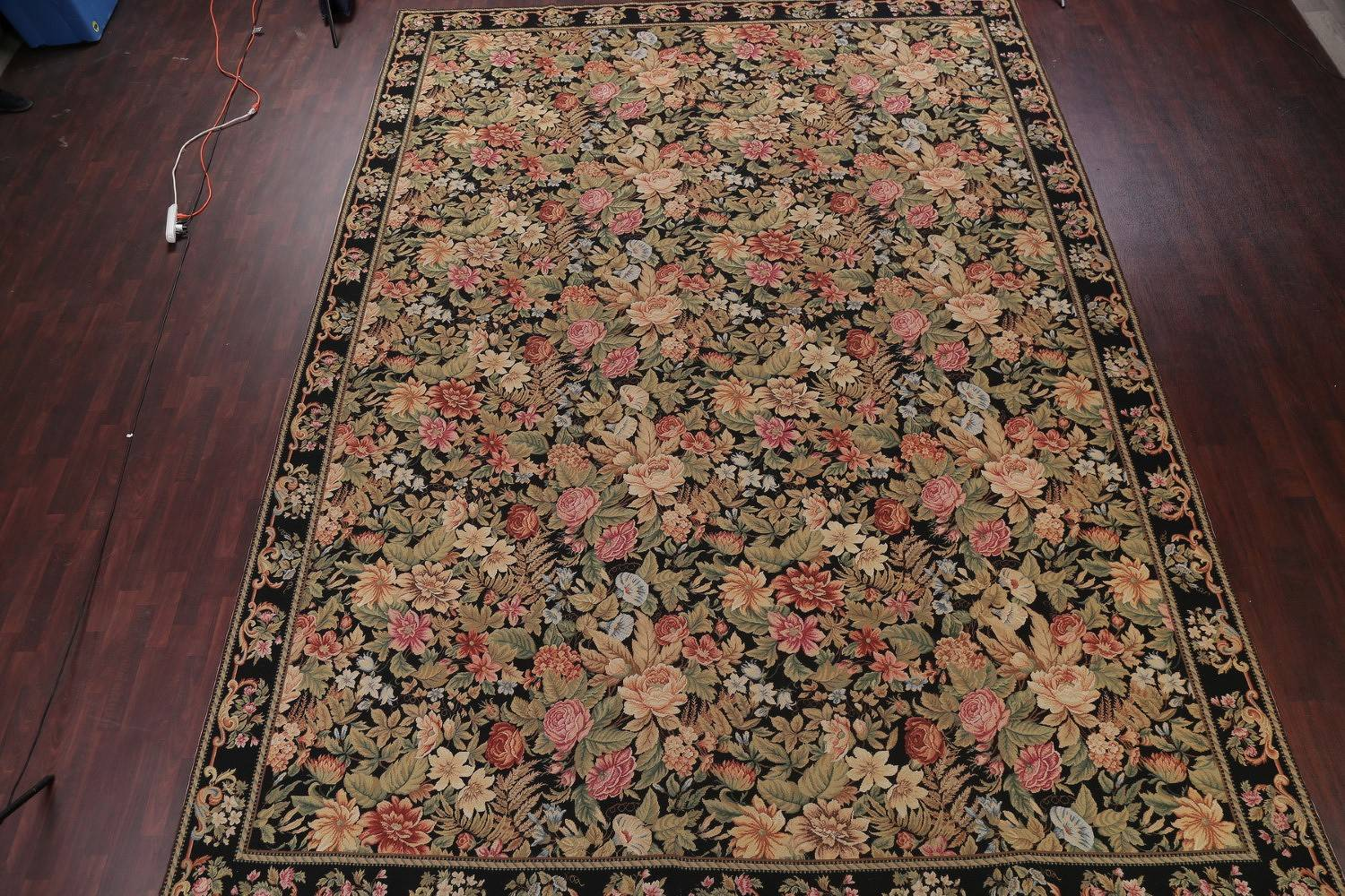 Floral Savonnerie Aubusson Chinese Oriental Hand-Woven Area Rug Wool 12x16