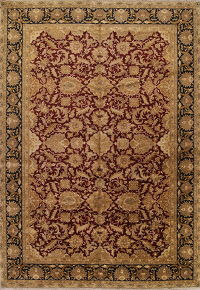 Floral Burgundy Agra Oriental Hand-Knotted Area Rug Wool 12x18