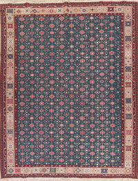 Floral Charcoal Sumak Turkish Oriental Hand-Woven Area Rug Wool 10x14