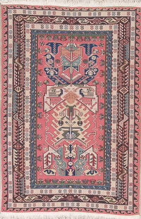 Geometric Pink Sumak Turkish Oriental Area Rug Wool 4x6