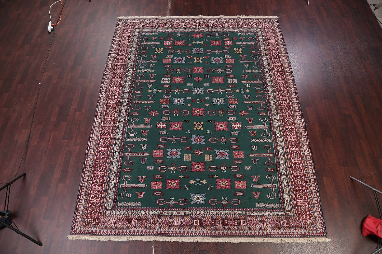 Geometric Green Sumak Turkish Oriental Hand-Woven Area Rug Wool 9x11